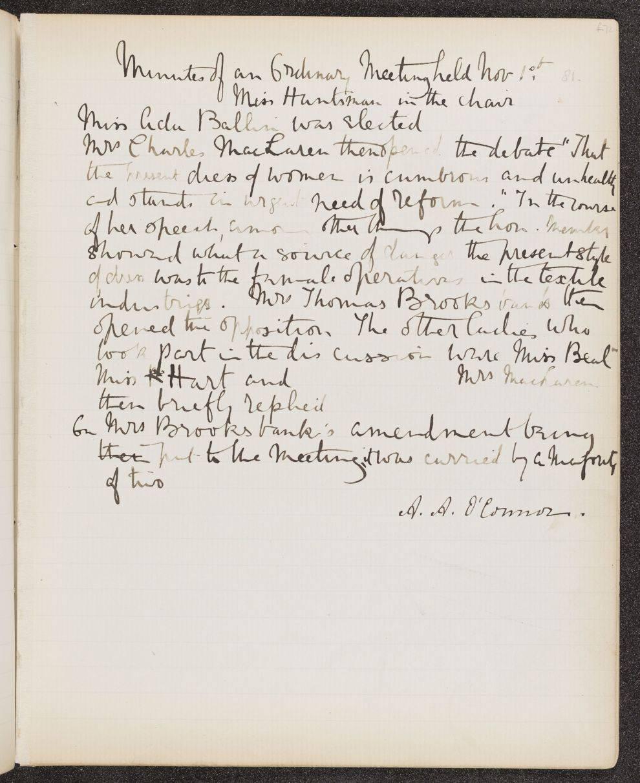 University College London: Women's Union Debating Society Minute Book, 1878–88