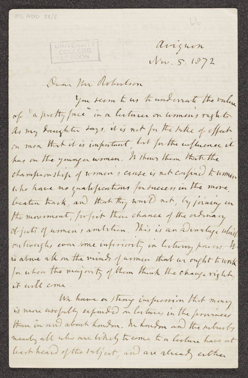 Letter from John Stuart Mill to George Croom Robertson
