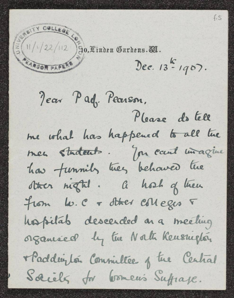 Letter from Alexandra Wright to Karl Pearson, 1907