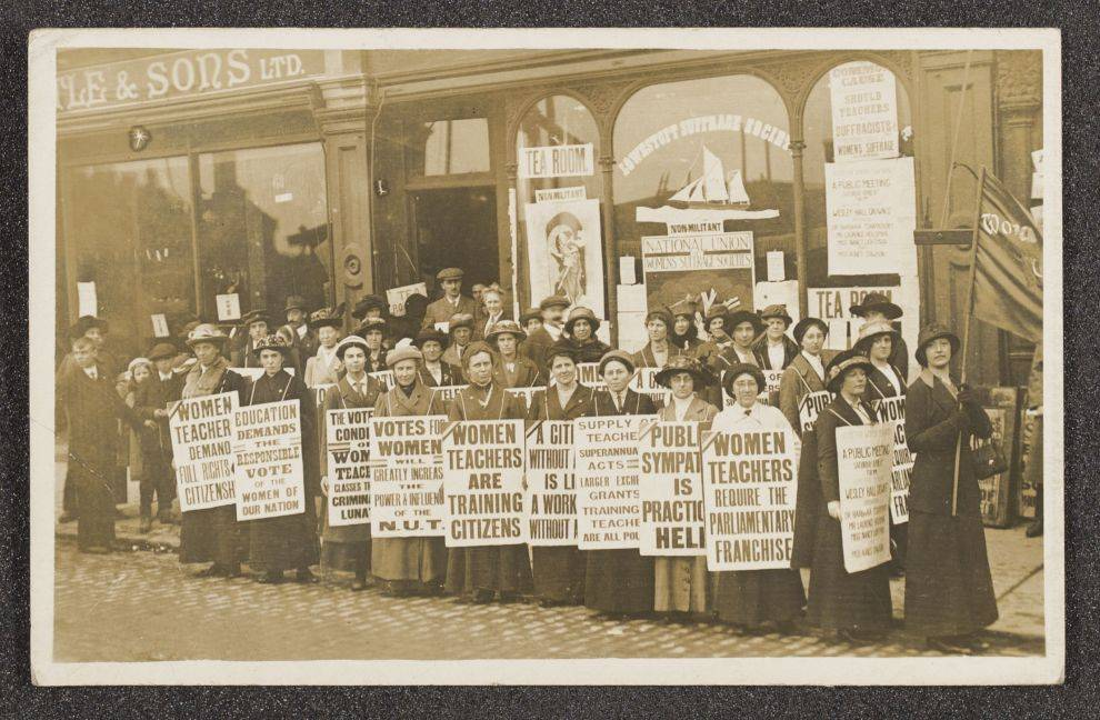 Photographs of an equal suffrage demonstration in Lowestoft, Suffolk.