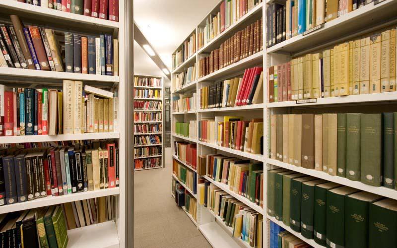 Books on shelves in book cases