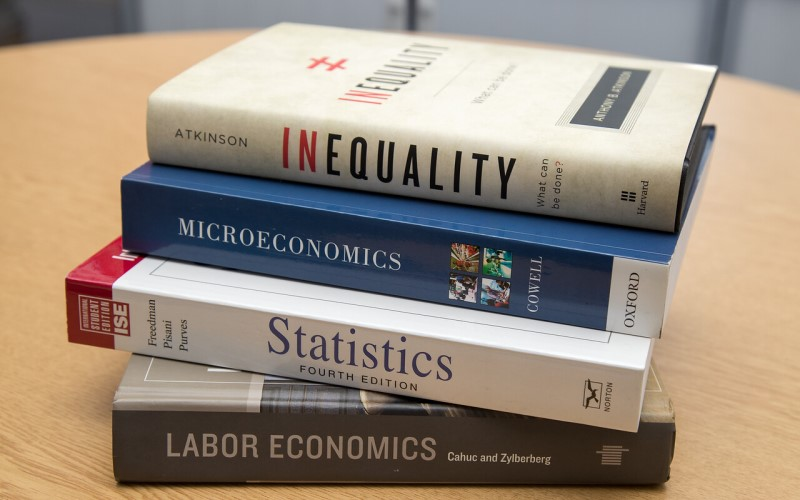 Small pile of books on a desk