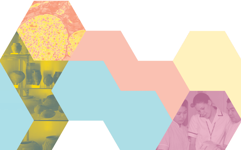 Montage of hexagon shapes to represent research data; decorative