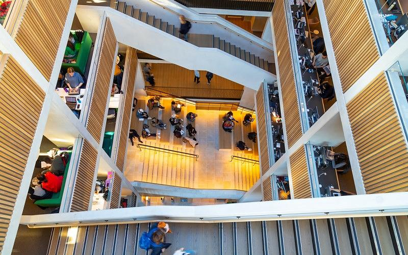 Looking down on the floors of the Student Centre