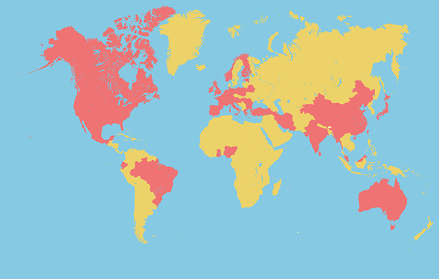 World map highlighting nationalities of LMCB scientists