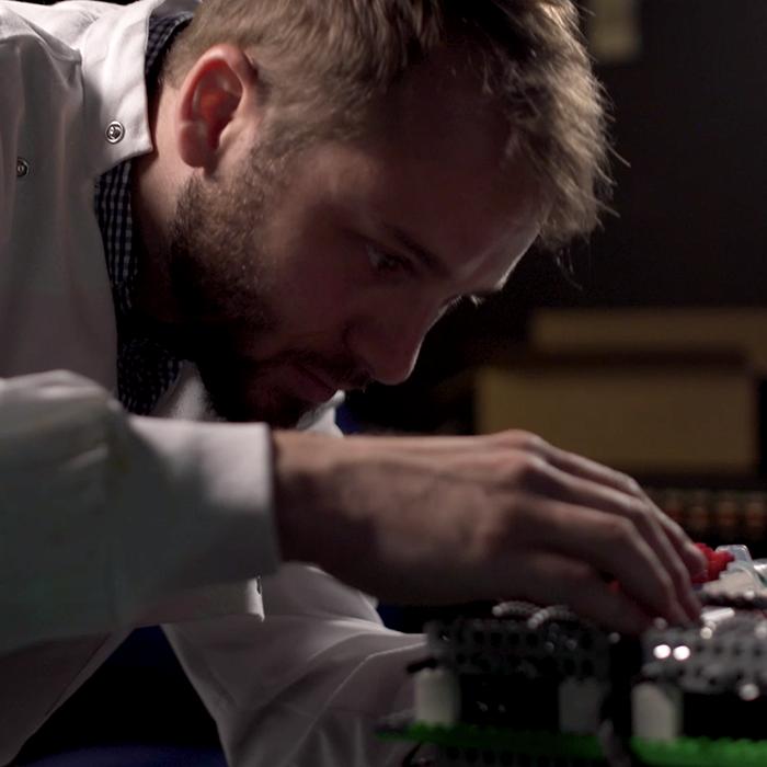 Scientist in microscopy development lab