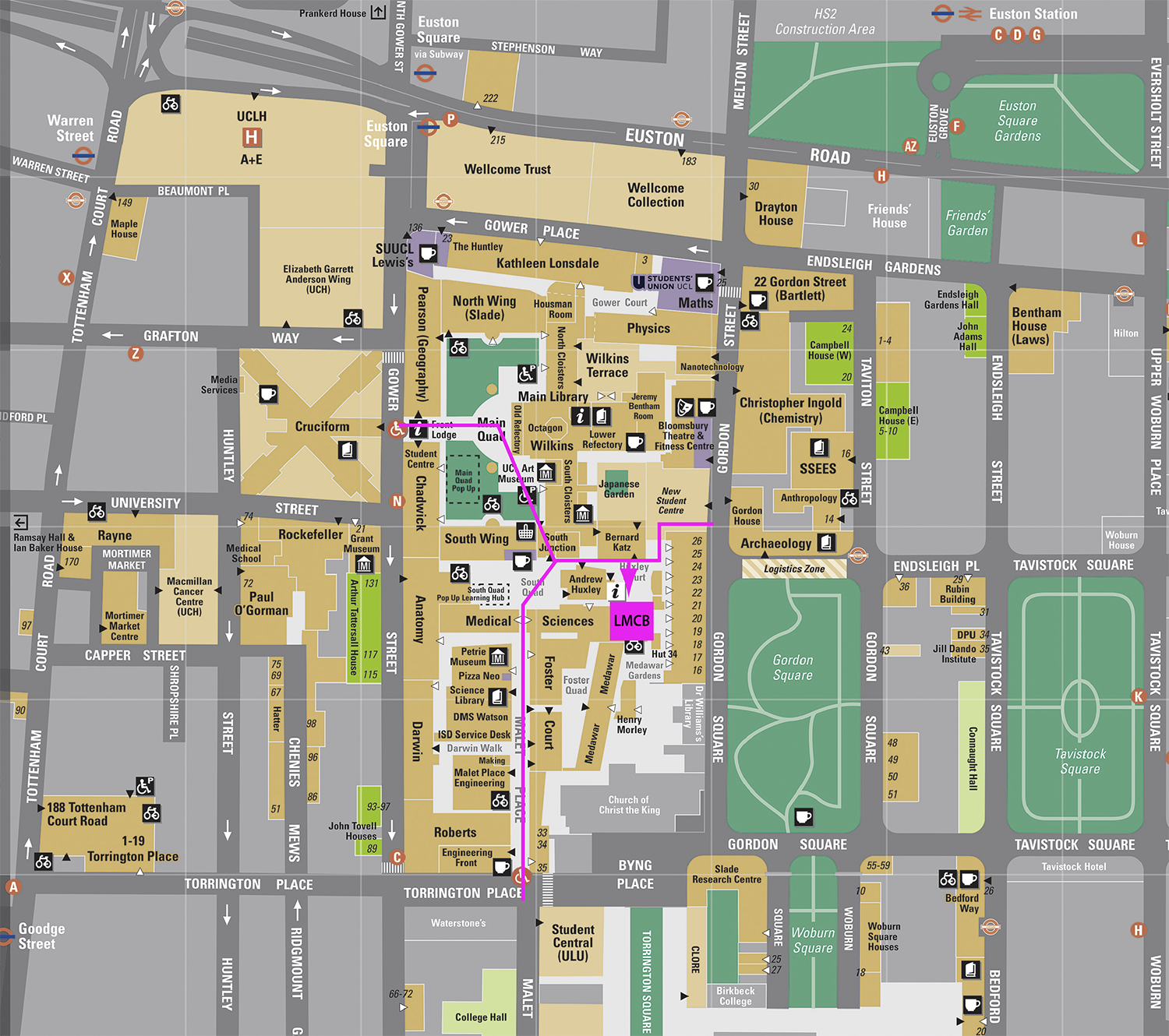 Map of UCL Bloomsbury Campus with directions to UCL