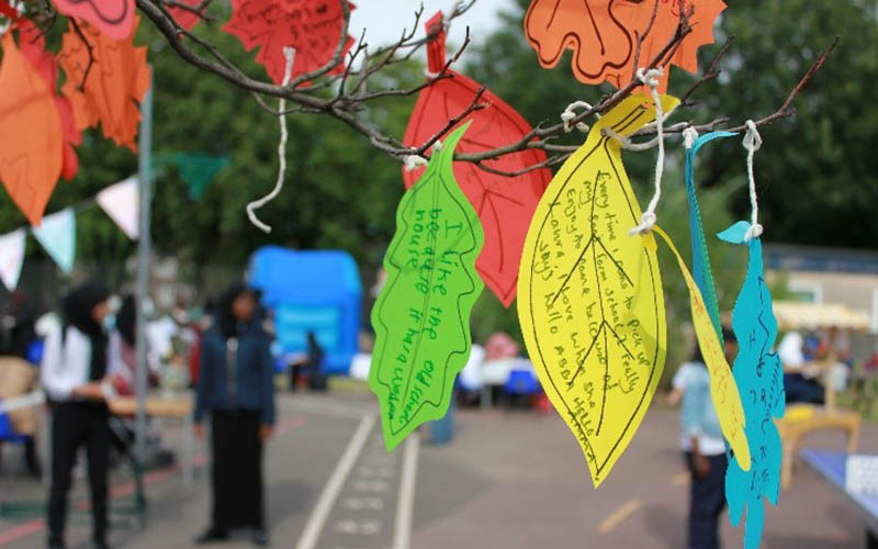 Memories written on paper leaves at a Camden primary school