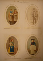 'Hungarian Peasants'. Hand coloured photographs by Sir Arthur Evans