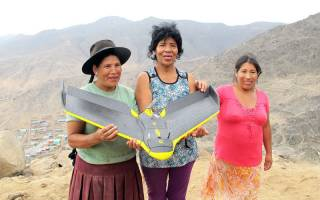three Peruvian women with landscape in the background