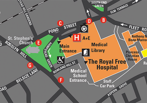 Cropped map of UCL's Hampstead campus