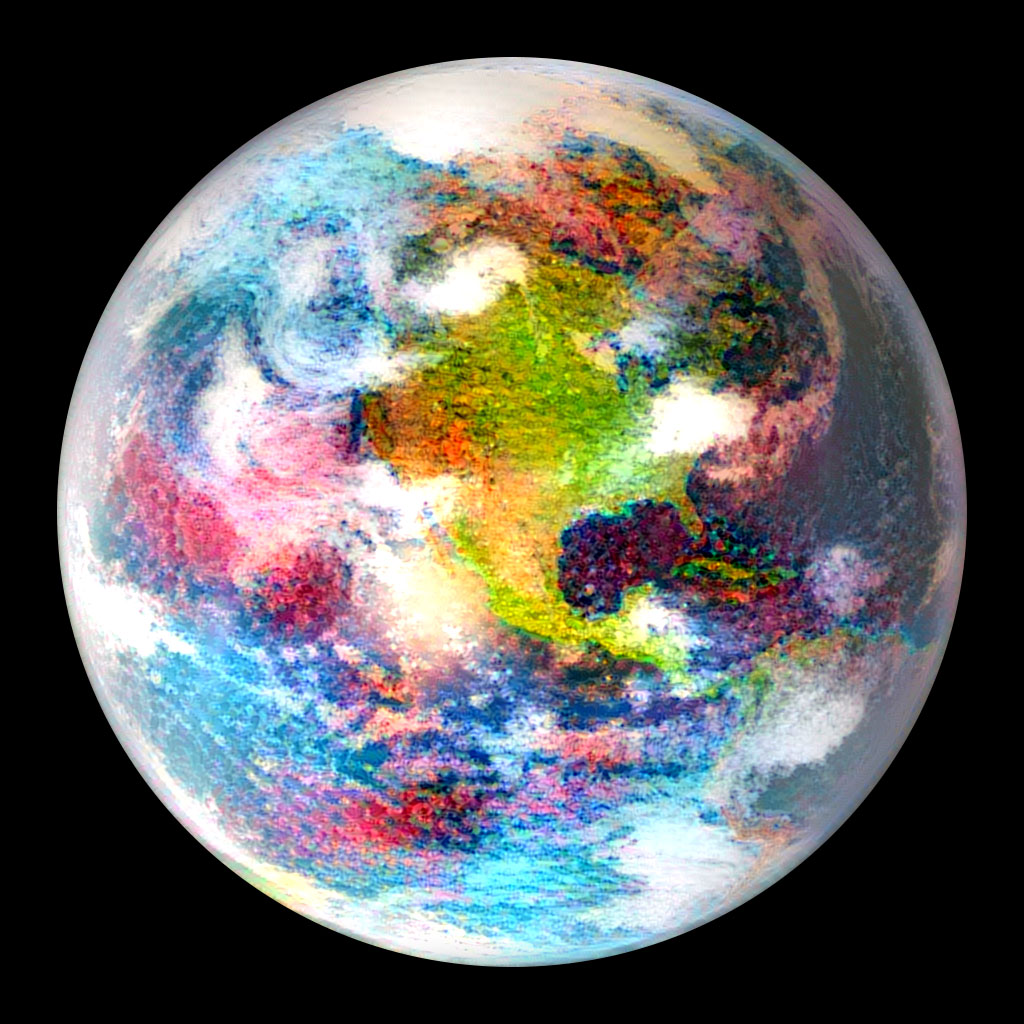 A neural network's dream of Earth. Similar to RobERt dreaming of exoplanet spectra, this neural network (Gatys et al. 2015) was trained to dream in the style of a Monet painting.