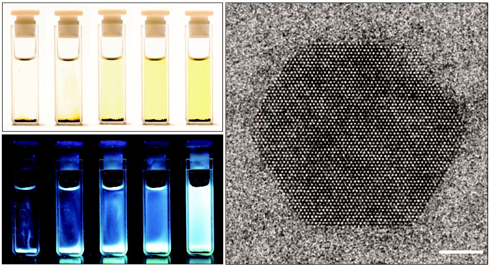 Hexagonal carbon nitride nanosheets gently dissolve into solution over time (left), producing luminescent, defect free 2d-nanosheets (right).