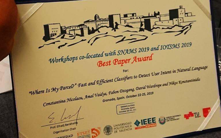 Best Paper Award - won by UCL CDT DIS team