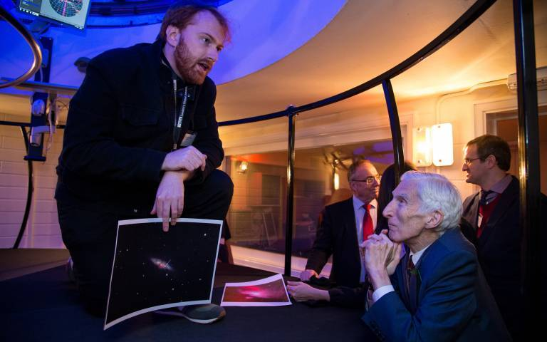 Lord Martin Rees and PhD student, Hamish Caines at UCL Observatory event