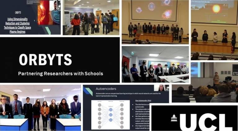 """Collage of images from the ORBYTS initiative, including students giving talks and the text """"ORBYTS - Partnering Researchers with Schools"""""""