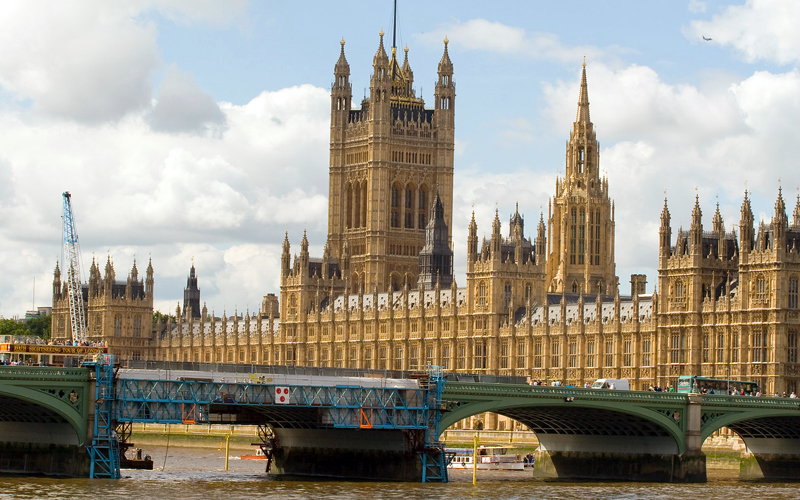 The Houses of Parliament and Westminster Bridge © UCL Media Services - University College London