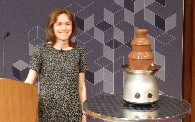 Professor Helen Wilson with chocolate fountain