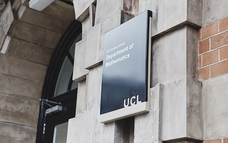 UCL Department of Mathematics sign