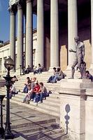 Students on steps (Portico)