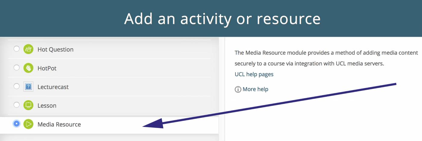 Select the Media Resource