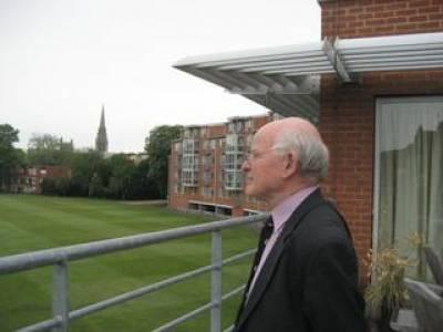 Peter Richards at Hughes Hall, Cambridge, overlooking Fenner's