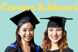 Two alumni with the text Career & Alumni