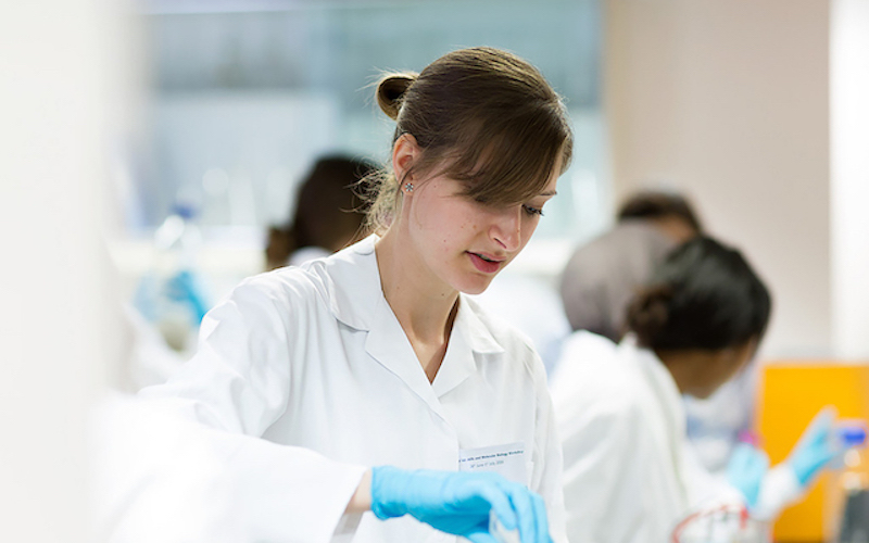 Student working in a lab