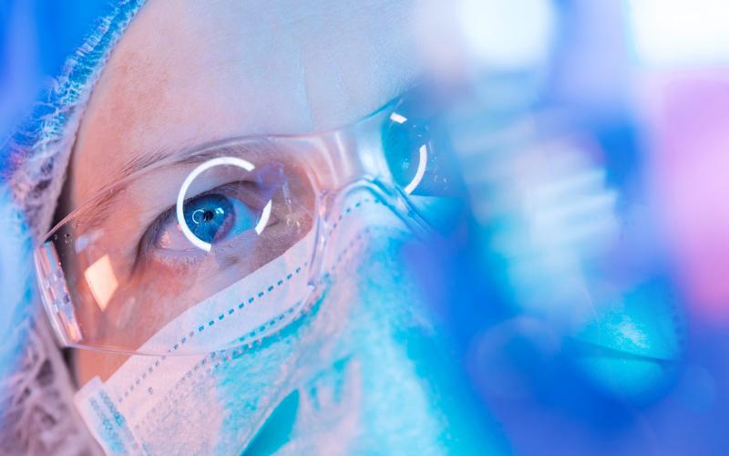 scientist wearing mask