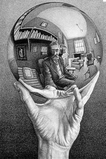 Hand with Reflecting Sphere: Escher