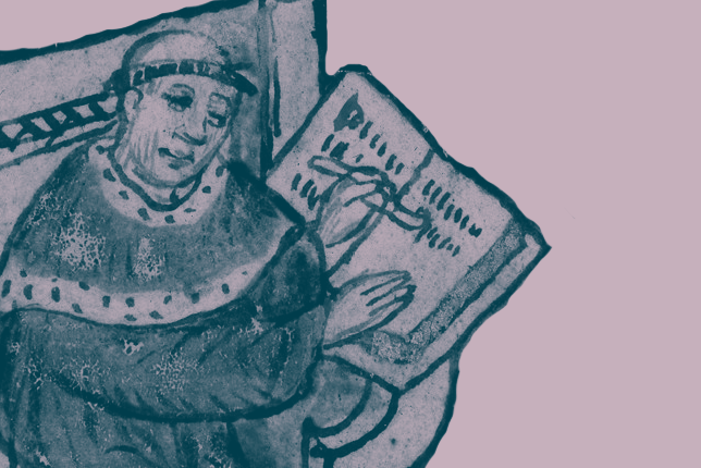 Medieval illustration of a monk writing in a book