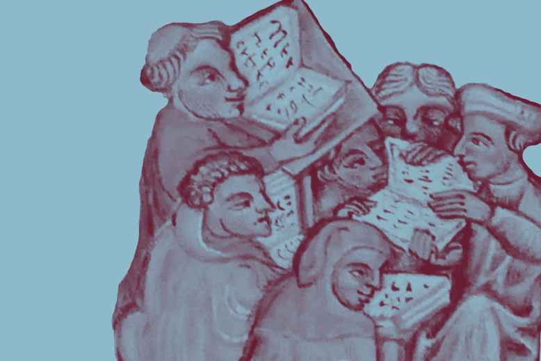 Medieval illustration of six students reading several books
