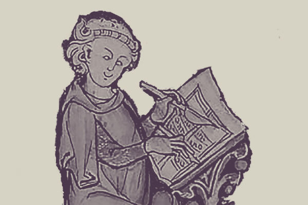 Illustration of a smiling scribe writing in a book