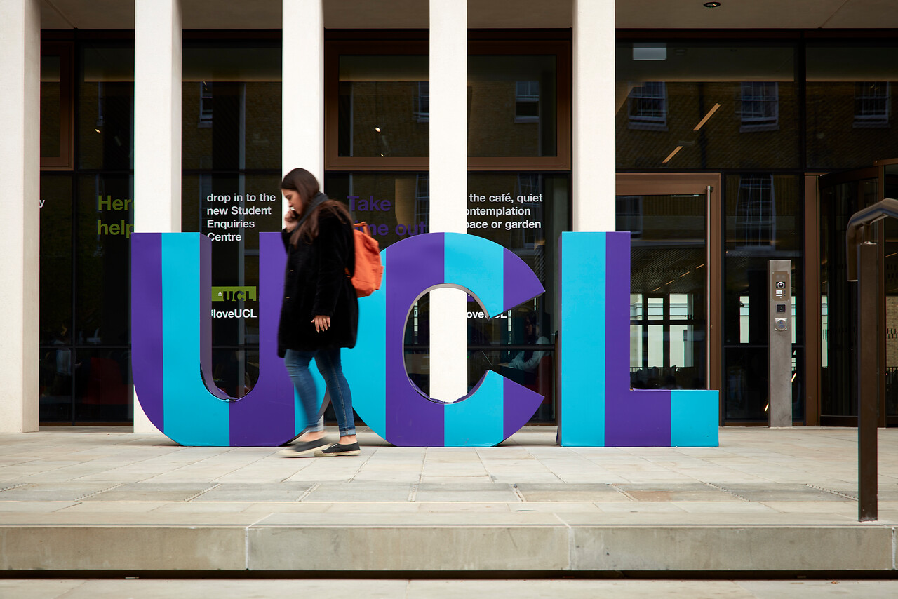 UCL sign outside new student centre