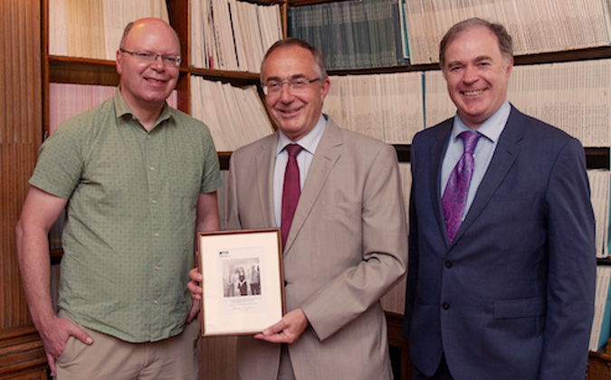 """title=""""Professor Andrew Fazakerly presents Professor Michael Arthur with a picture taken by the PanCam engineering model"""""""