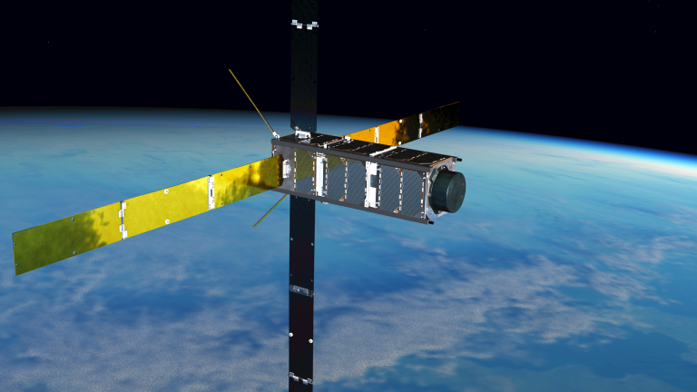 Artists impression of the SOAR spacecraft showing the MSSL INMS instrument on the end. Image courtesy: DISCOVERER consortium