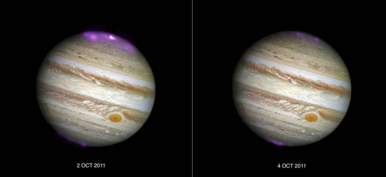 Jupiter's X-ray emission (in magenta and white, for the brightest spot, overlaid on a Hubble Space Telescope optical image) captured by Chandra as a coronal mass ejection reaches the planet on 2 October 2011, and then after the solar wind subsides on 4 Oc