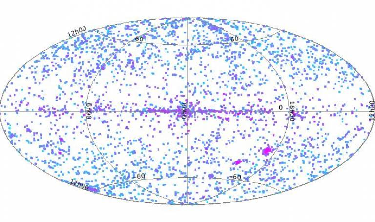 Positions of the sources in the catalogue in Galactic coordinates.