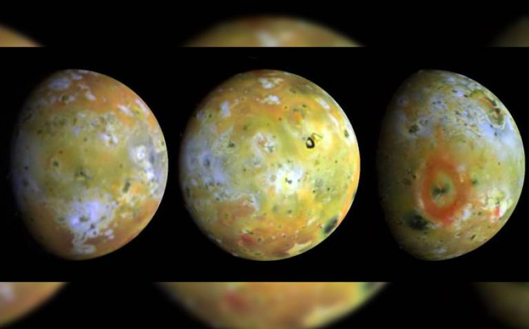 The different faces of Io taken by the Galileo spacecraft (Credit: NASA/JPL/Galileo Project)