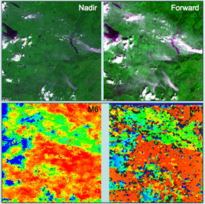 AATSR false colour composites of the nadir and forward together with corresponding stereo-matched smoke, cloud and ground heights [Muller, Fisher and Yerchov, 2010].