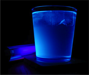 Example of fluorescence from a Gin & Tonic (courtesy of Lewis Dartnell).