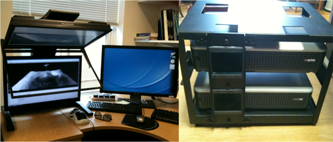 3D display system at the Imaging group: High quality passive stereo display fromPlanar(Left) andGeoWallstereo projector for multiple viewers (Right)