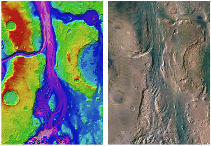50m HRSC DTM and orthoimage mosaic of Iani Valles created in the imaging group [Warner, Muller and Gupter, 2009].
