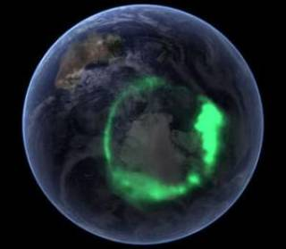 Aurora oval view from space