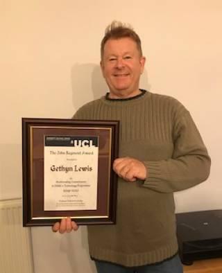 John Raymont award winner Gethyn Lewis