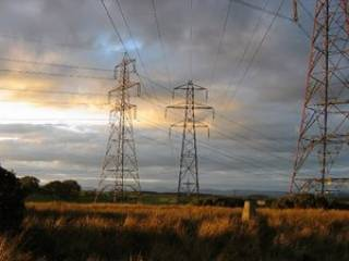 Electricity pylons in Plean, Scotland