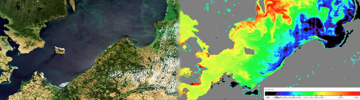 True colour image of an algal bloom spreading in the Baltic Sea on 27-07-2008 derived from MERIS (left), Chlorophyll-a fluorescence image of phytoplankton retrieved using the BEAM FLH algorithm (right).
