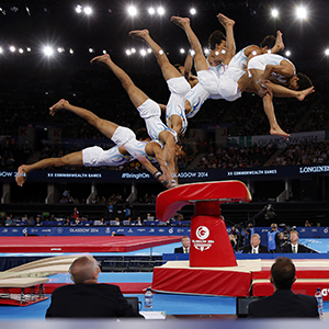 Anand Patel on the vault during competition at the Games