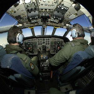300sq RAF Pilot Training in Cockpit of Nimrod Aircraft