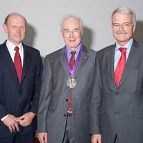 Professor Sir Martin Evans with Provost and Professor Tony Segal
